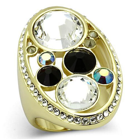 Beautiful Unique Mix Stone & Color Oval Shape Gold Tone Steel Ring