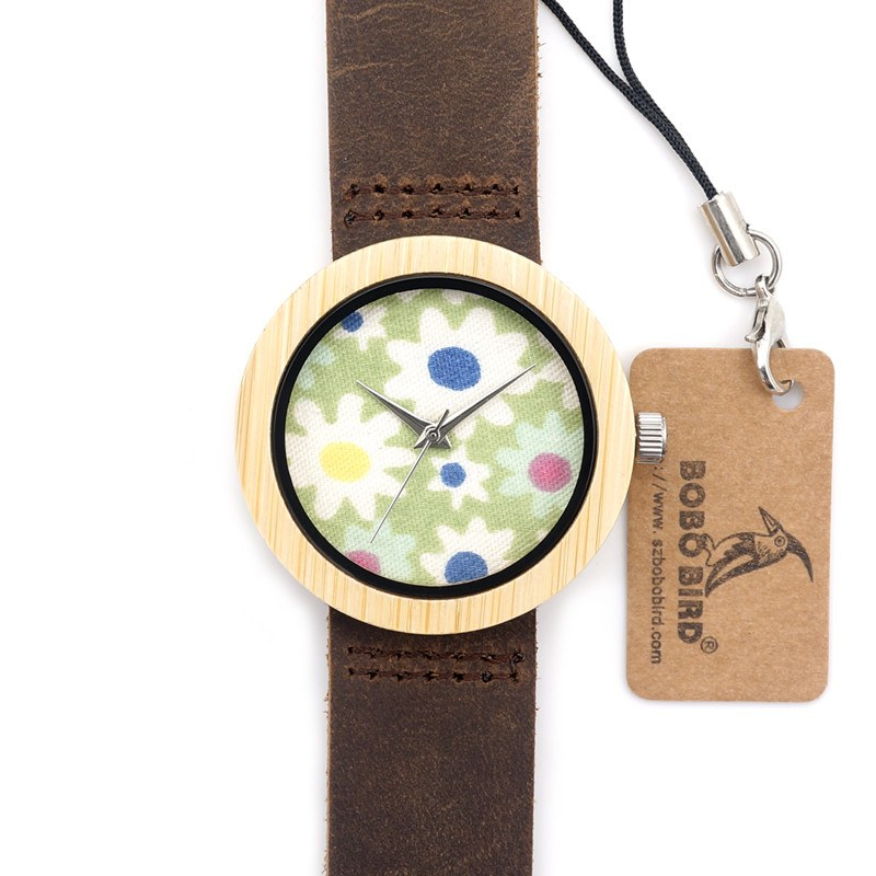 Flower Party Bamboo Wristwatch
