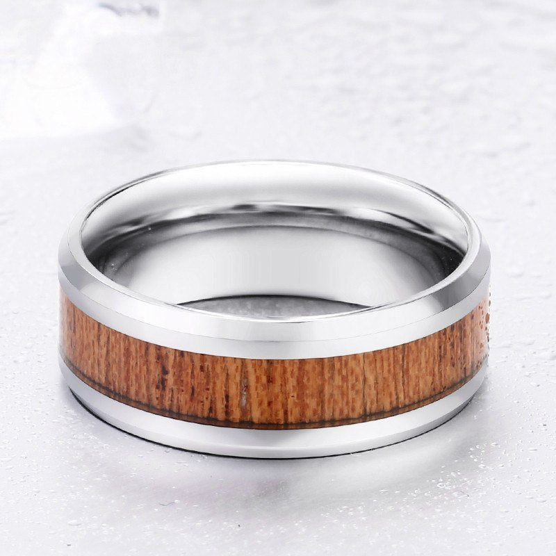 Handmade Silver Redwood Inlay Ring
