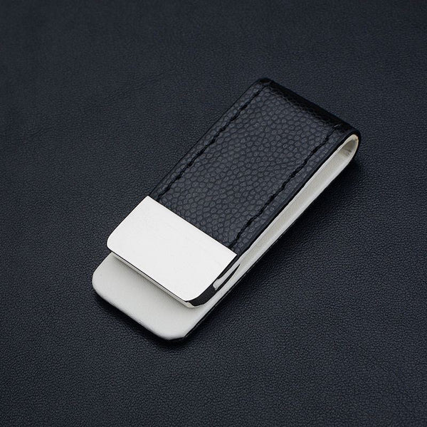 Onyx Leather Money Clip