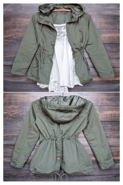 Olive Hooded Drawstring Parka Jacket