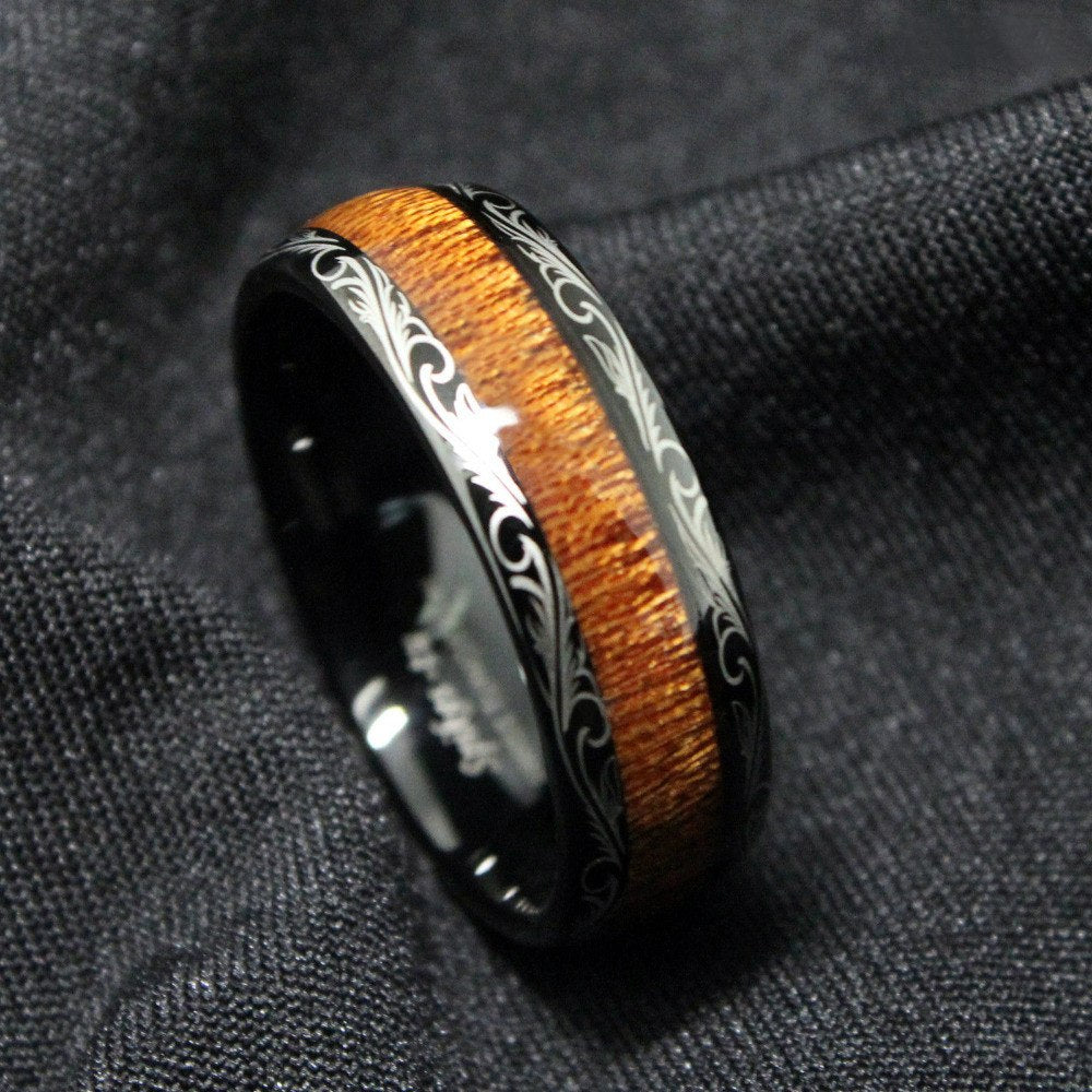 Handmade Black Koa Wood Inlay Ring