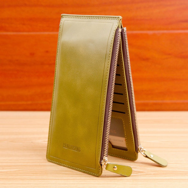 Double-Zip Luxury Clutch Purse