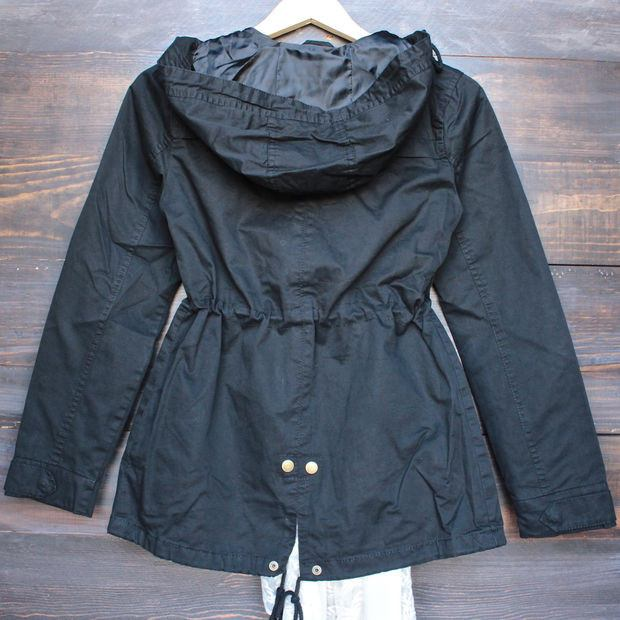 Hooded Drawstring Parka Jacket