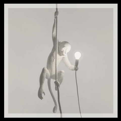 White Monkey Lamp Hanging