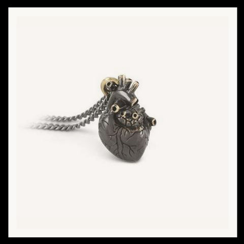 Ox Brass Heart Necklace Small