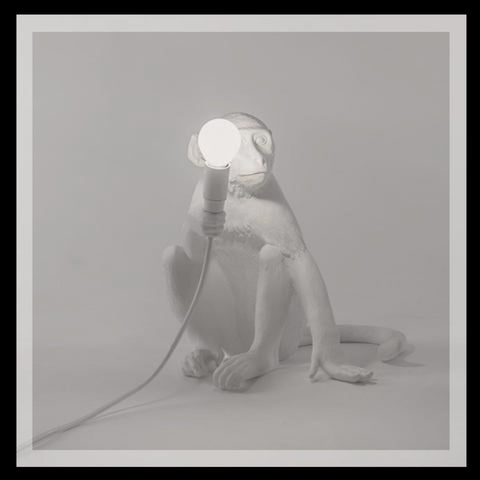White Sitting Monkey Lamp