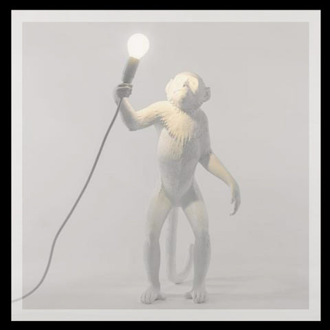 White Standing Monkey Lamp