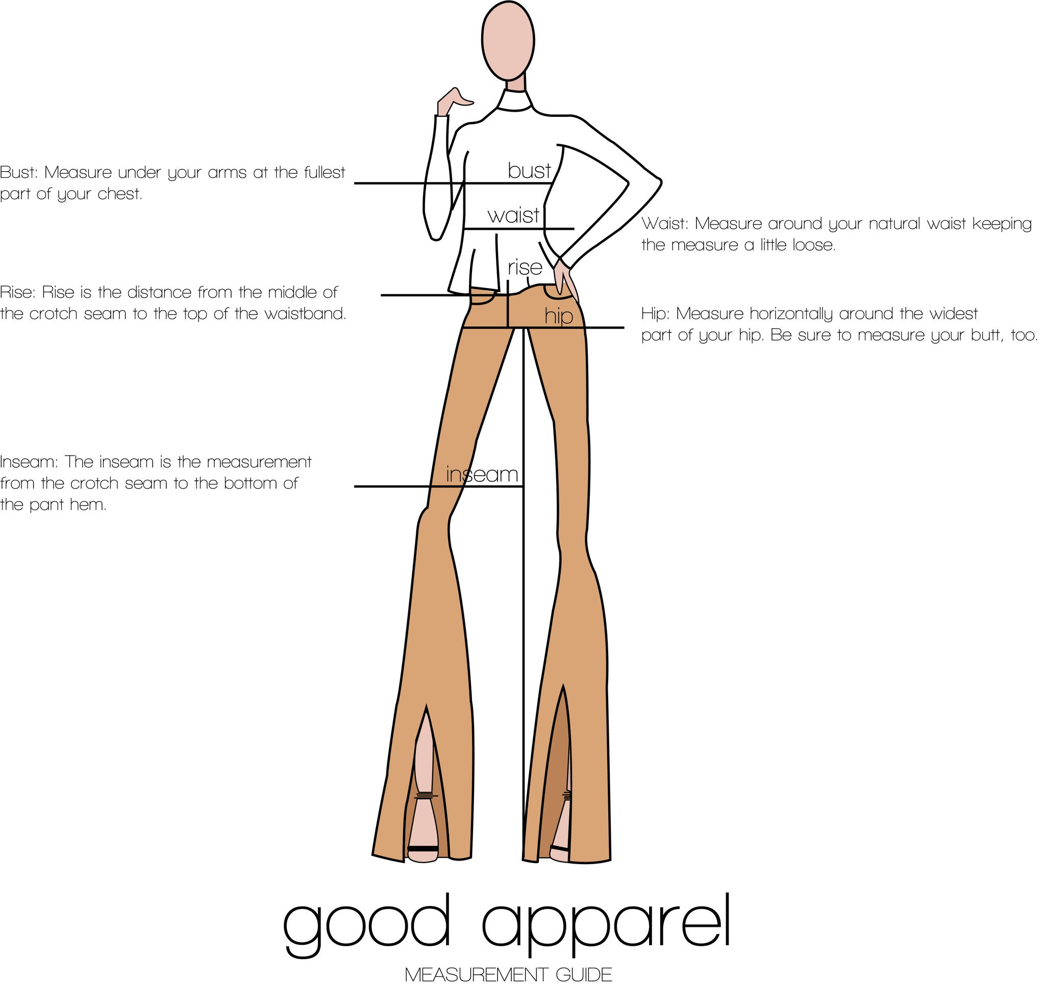 Good Apparel measurement guide
