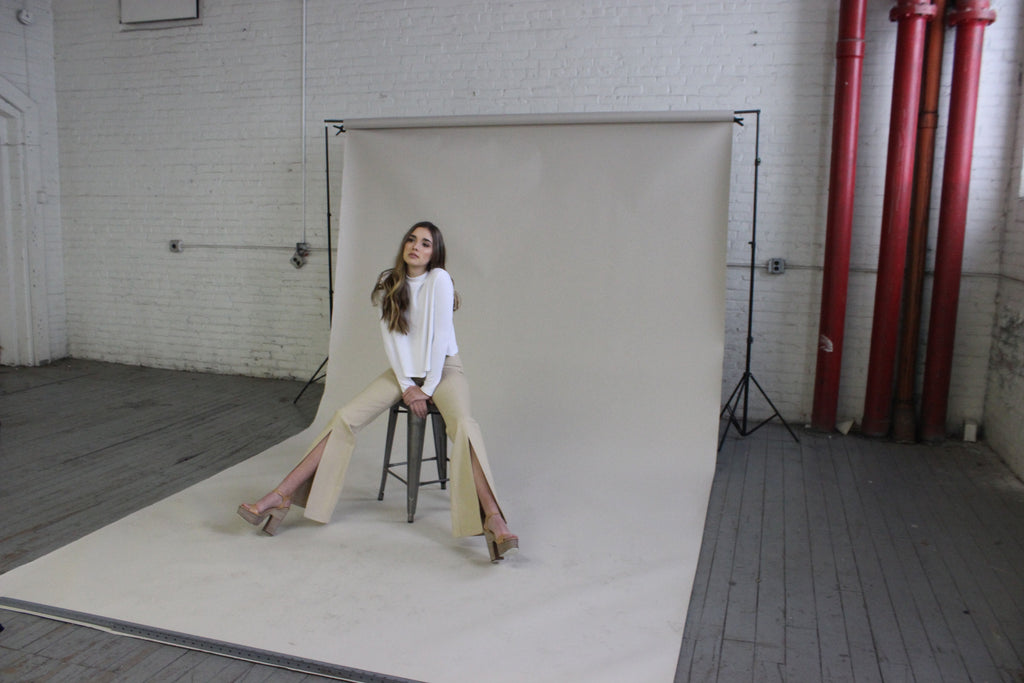 Photographing for e-commerce in Good Clothing Company's Fall River Mill for Good Apparel's first collection.