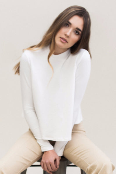 Mock Swing Top. White micro-modal and supima cotton mock neck swing top.
