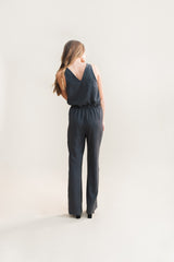 Deep V Jumpsuit in sustainable gray tencel with elastic waistband