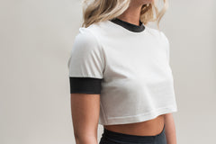 Contrast Crop. White organic cotton and bamboo crop top with gray contrast details.