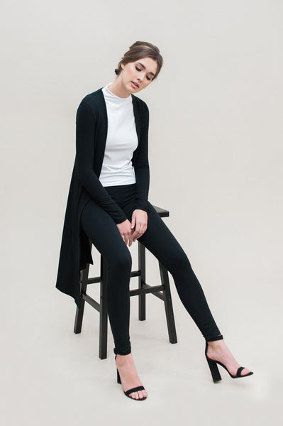 Simple Knit Jacket. Black bamboo french terry jacket with simple silhouette.
