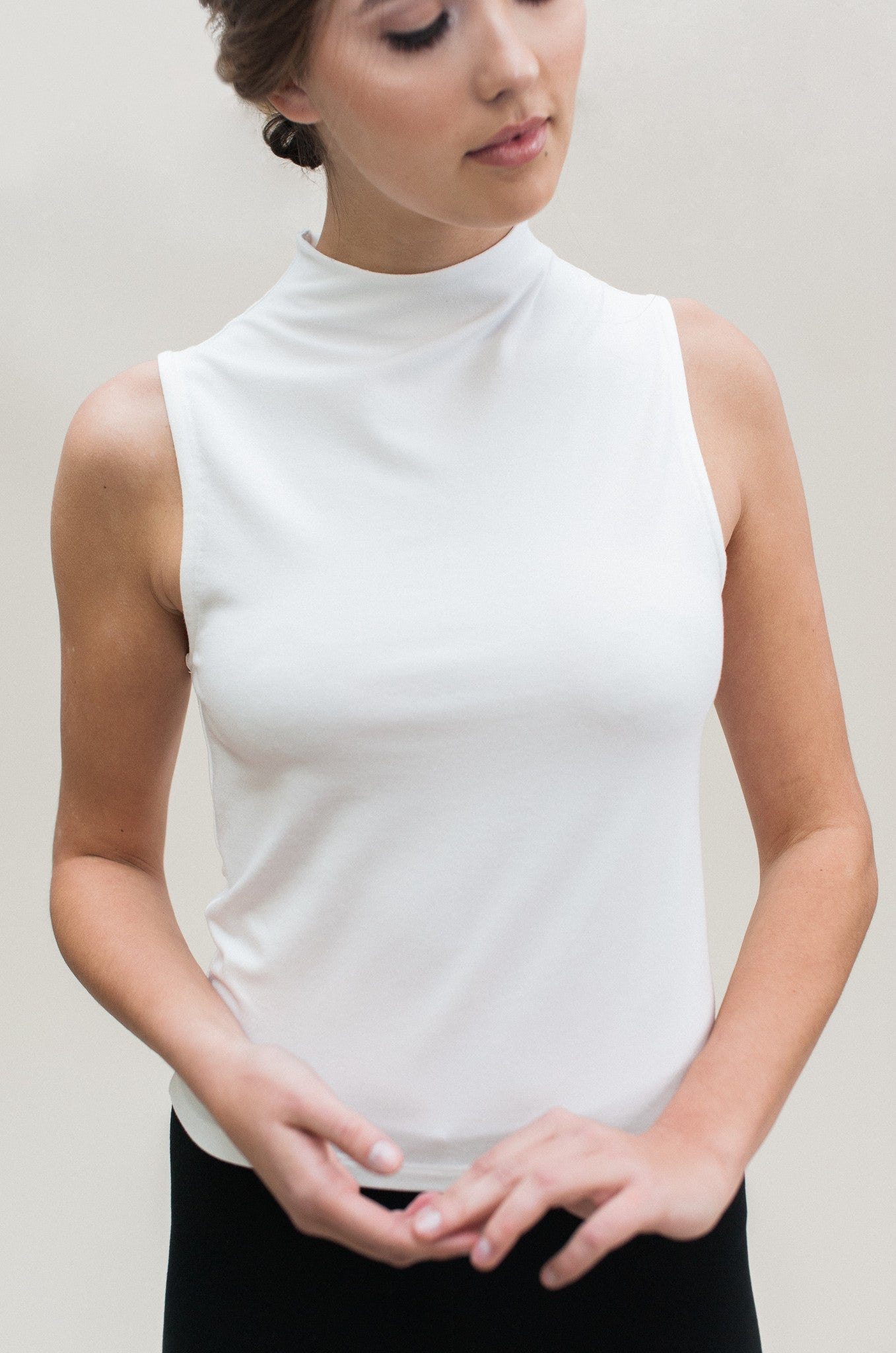 Sleeveless Mock Top