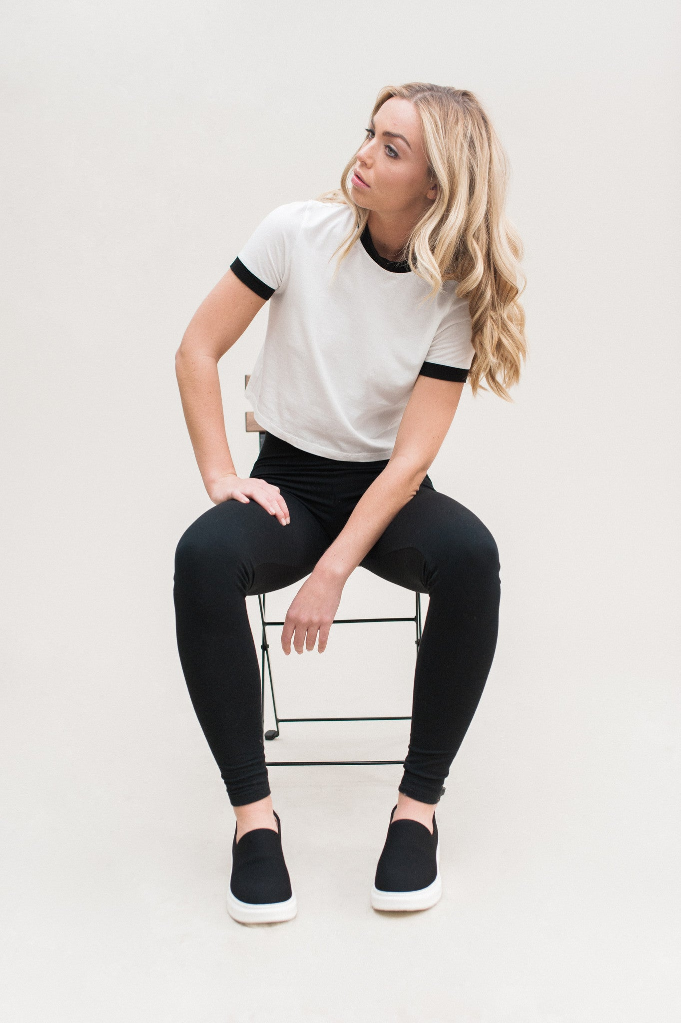 Contrast Tee. White organic tee shirt with black contrast trim.