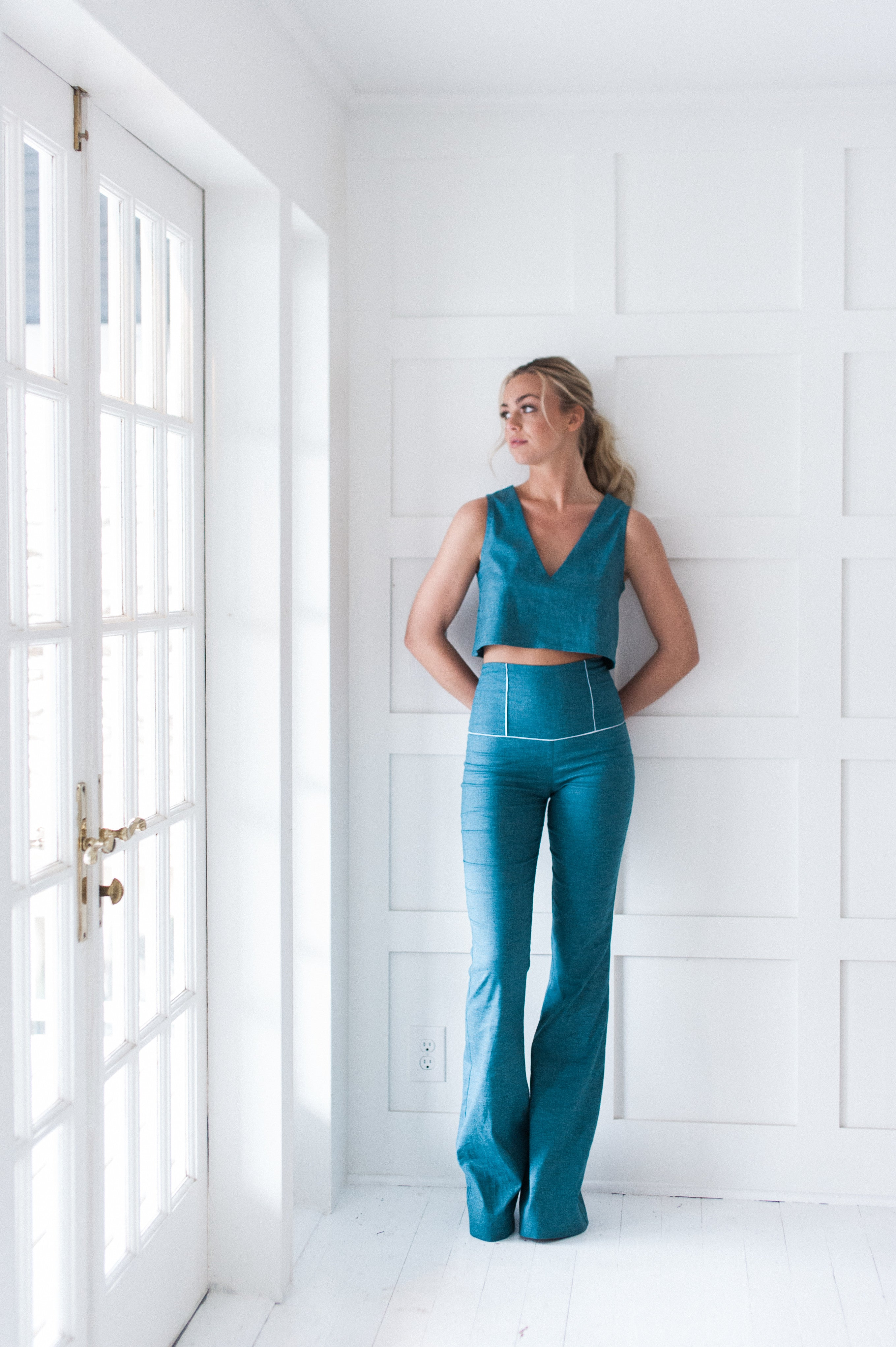 Paneled waist pant in blue, recycled poly, hemp chambray.