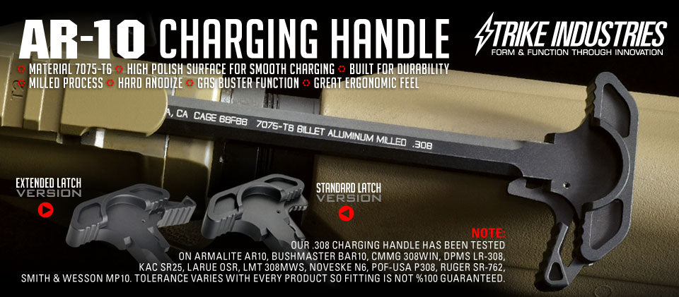 Strike Industries Extended Latch Charging Handle for AR-10 / .308 - Black