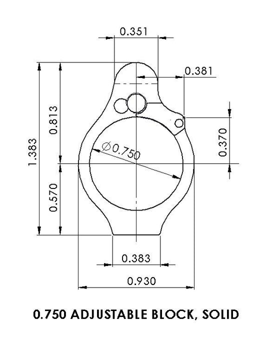 Superlative Arms .750 Adjustable Gas Block - Solid - Melonited
