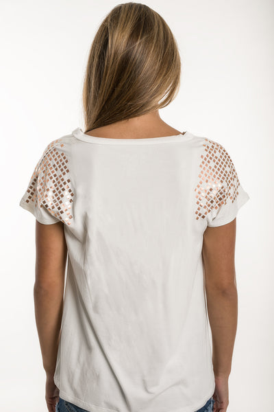 Rose Gold Gladiator Style Easy V-Neck Ivory Tee - TEMA Athletics