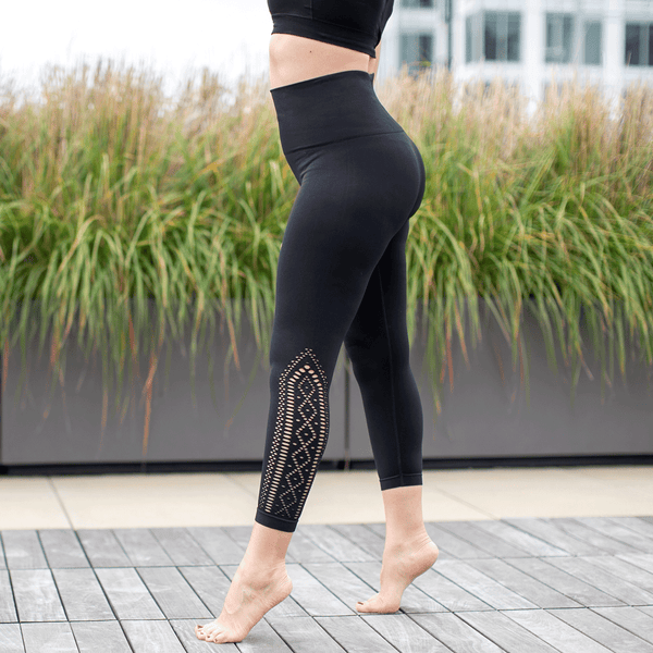 High Waist Compression Seamless Black Lace Detail Leggings