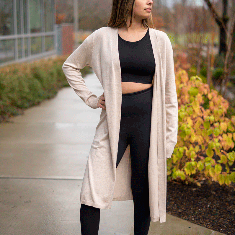 Oatmeal Open Front Duster Cardigan Sweater