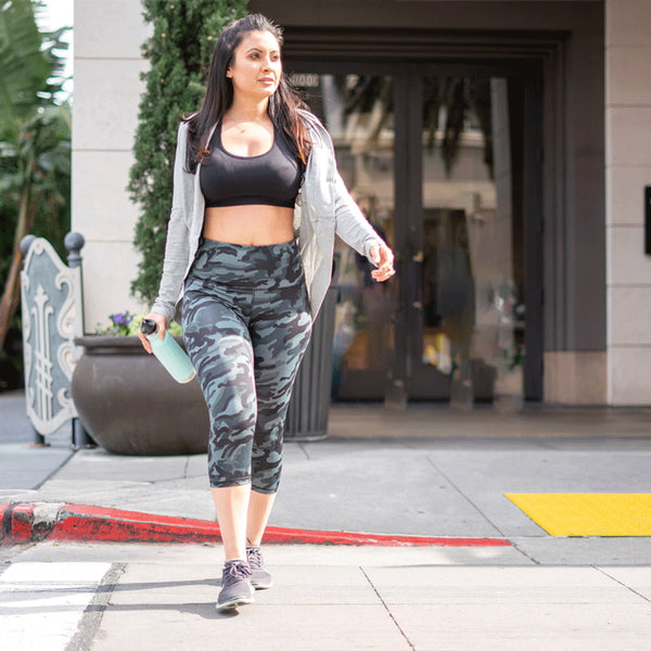 High Waist Black Camo Print Compression Capri Leggings