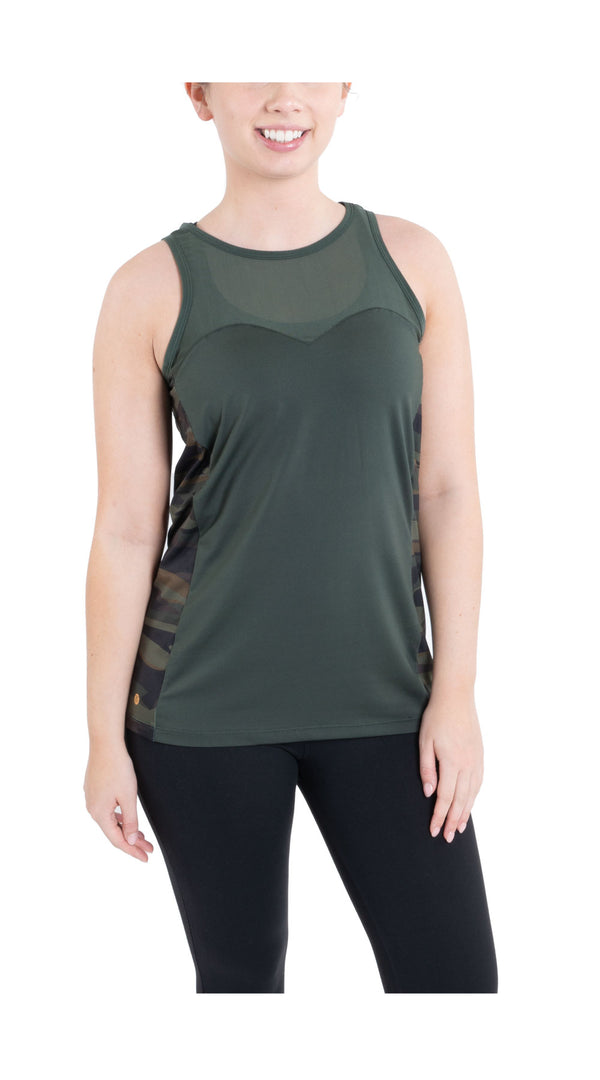 TEMA Athletics Green Camo Biker Unleashed Tank