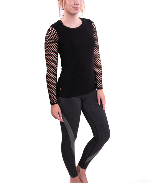 FINAL SALE New* Black Big Mesh Long Sleeved  Tee