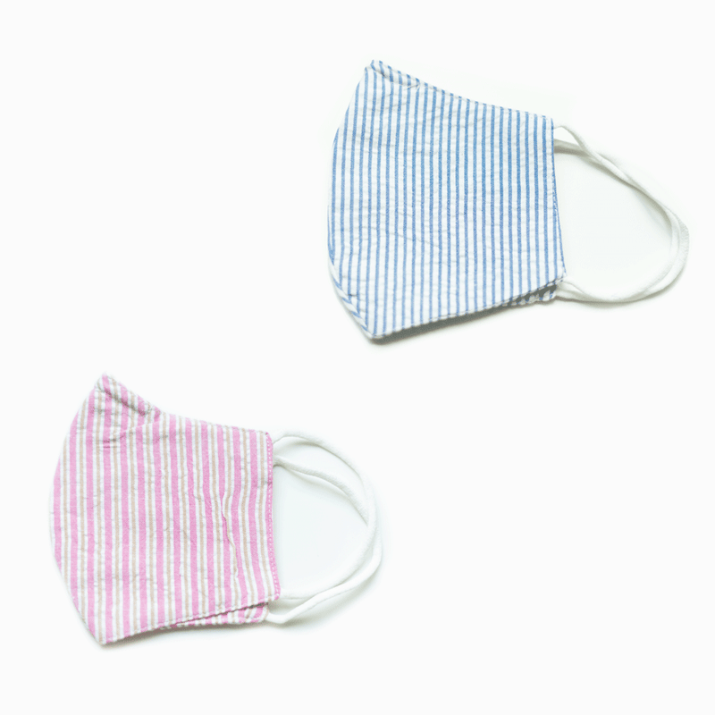 Pack of 2 Seersucker Face Masks with Pocket for Removable Filter