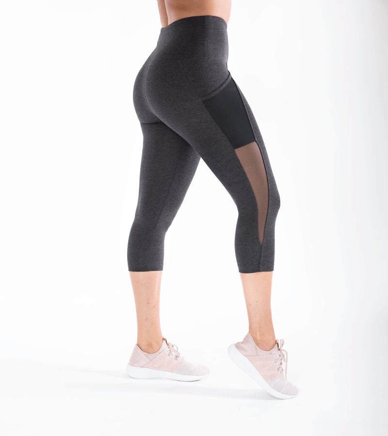 Heather Black Side Pocket High Waist Leggings