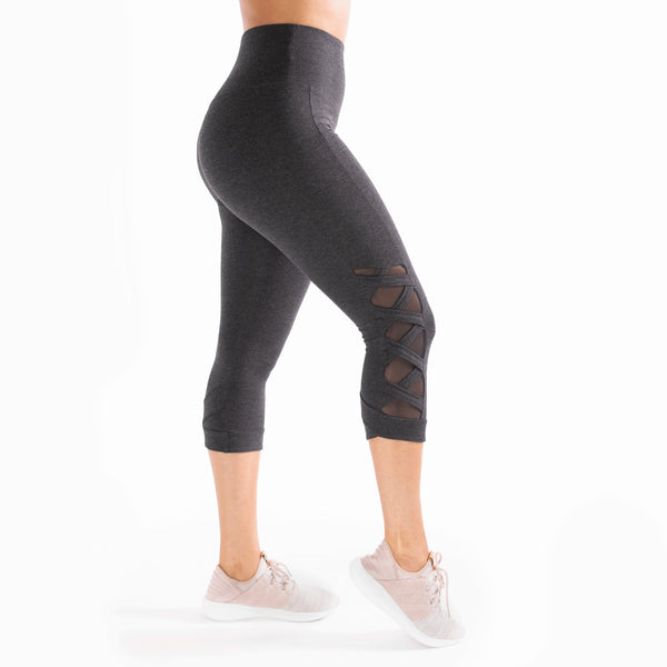 Heather Black High Waist Weave Leggings