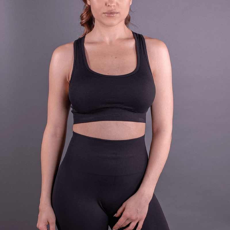 TEMA Athletics Seamless Black Leaf Bra