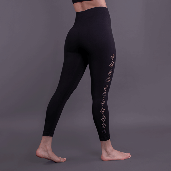 TEMA Athletics High Waist Seamless Black Scallop Leggings