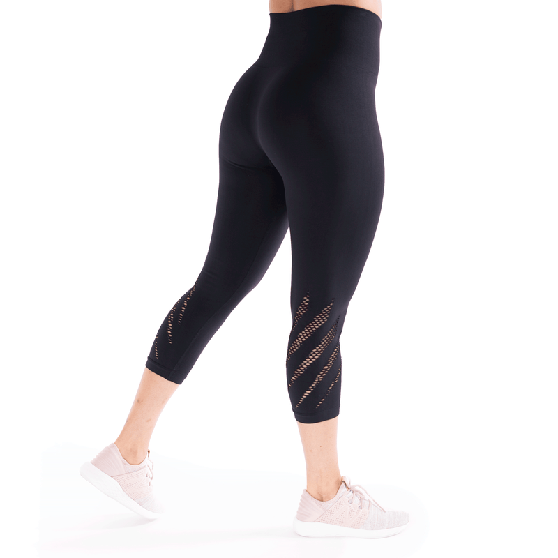 High Waist Compression Seamless Black Wings Leggings