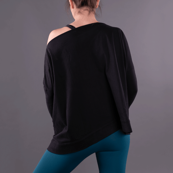 Black Convertible Off Shoulder Layering Tunic & Cardigan