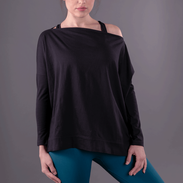 TEMA Athletics Black Convertible Off Shoulder Layering Tunic & Cardigan