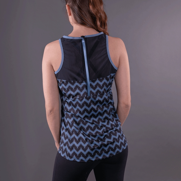 TEMA Athletics Blue Chevron Biker Unleashed Tank