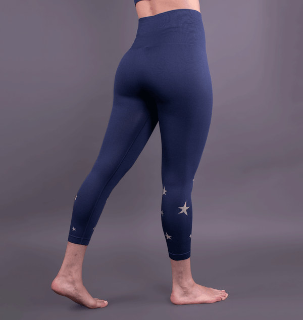 High Waist Seamless Blue Star Leggings