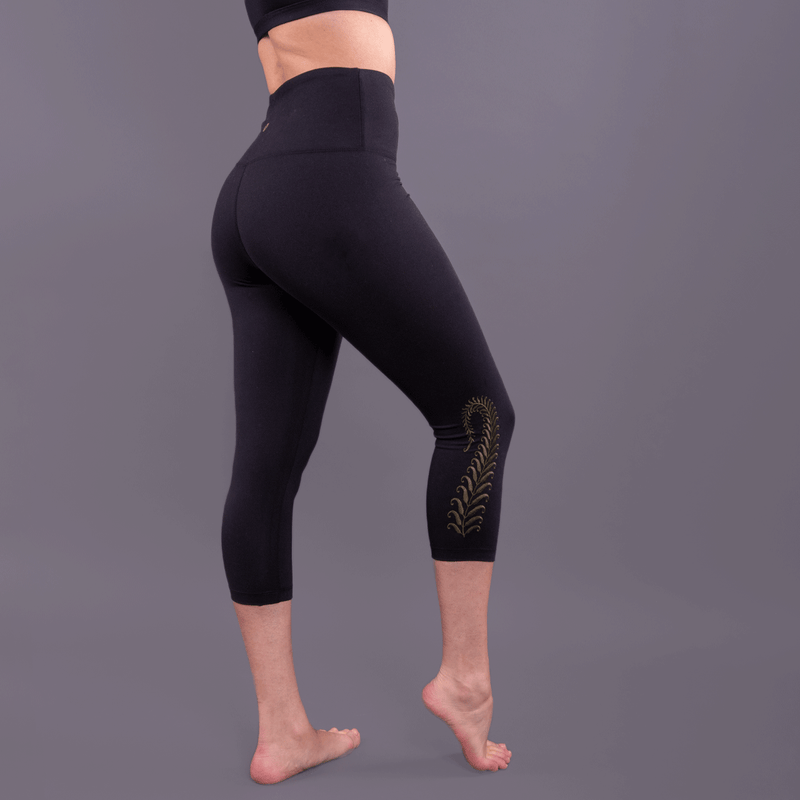 TEMA Athletics High Waist Tummy Tuck Fern Embroidered Yoga Leggings