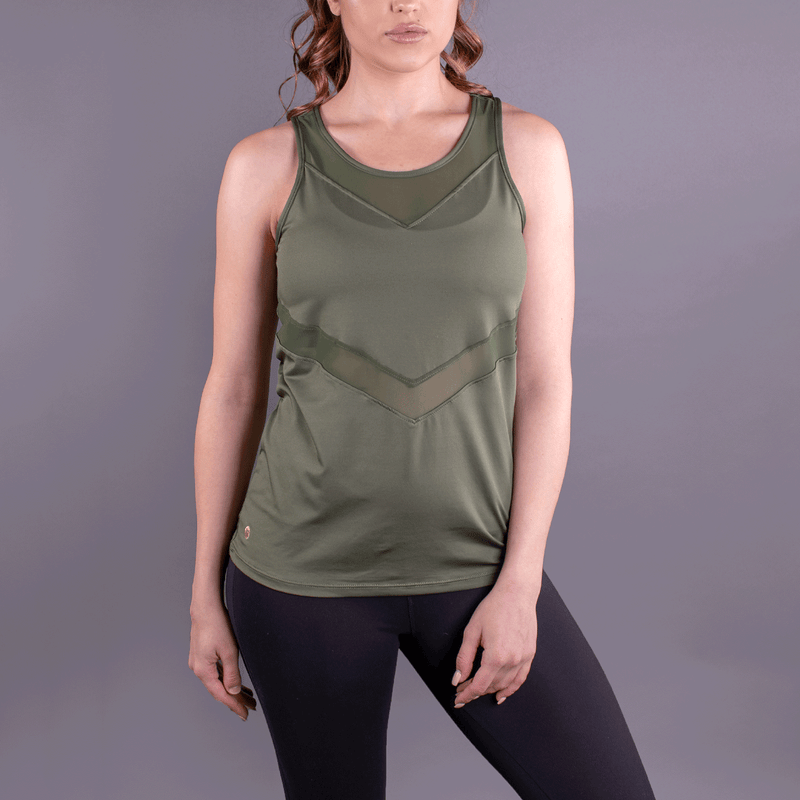 TEMA Athletics Military Green Chevron Racerback Tank