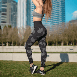 TEMA Athletics Reversible Seamless High Waist Ginkgo Leaf Leggings