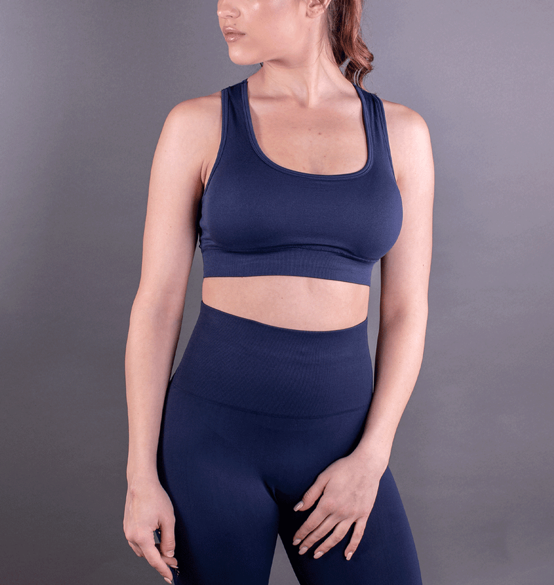 TEMA Athletics Seamless Blue Scallop Bra