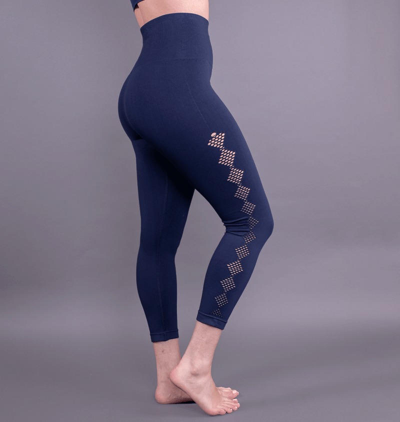 TEMA Athletics High Waist Seamless Blue Scallop Leggings