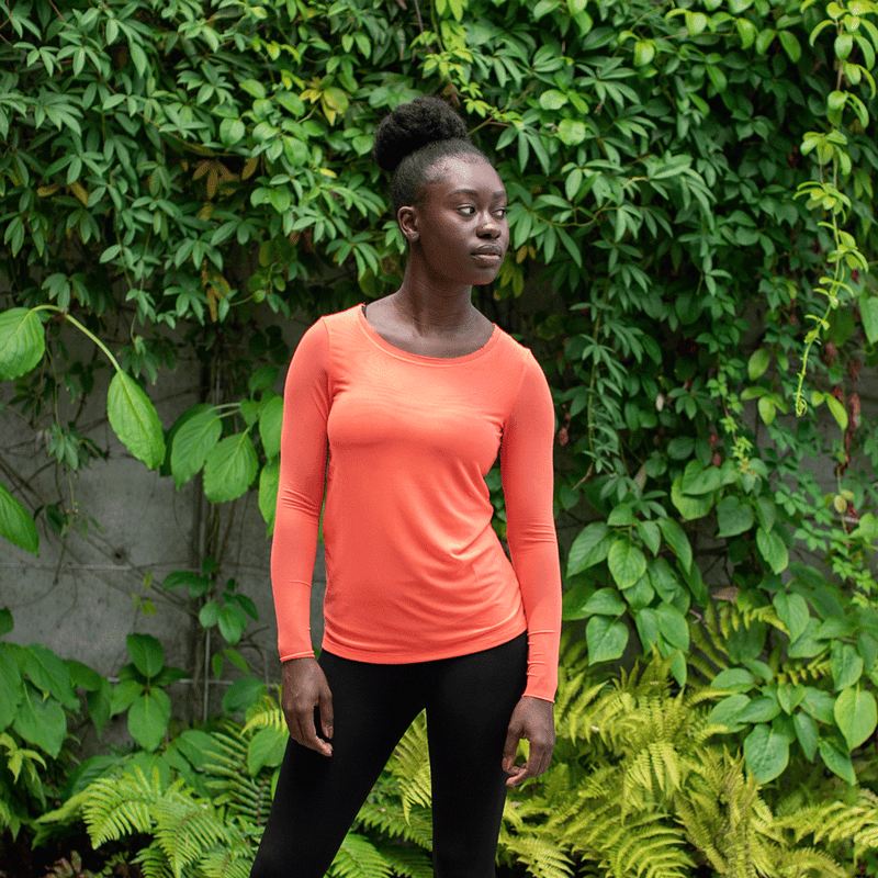 TEMA Athletics Neon Coral Long Sleeve Mesh Tee