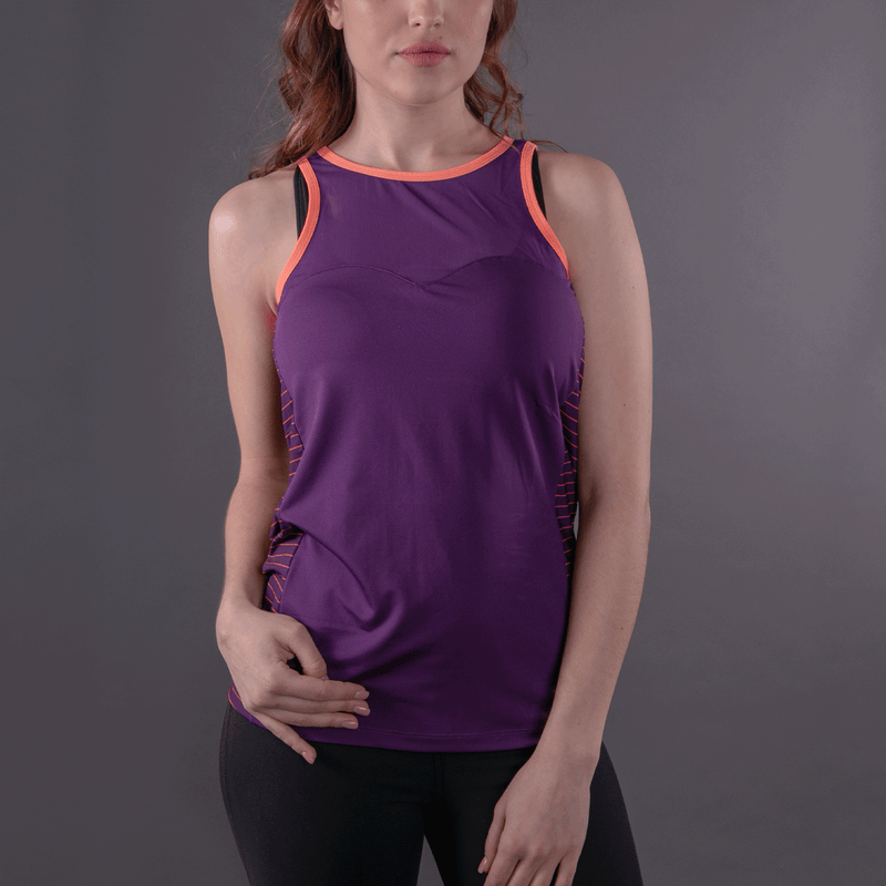 TEMA Athletics Purple Stripes Biker Unleashed Tank