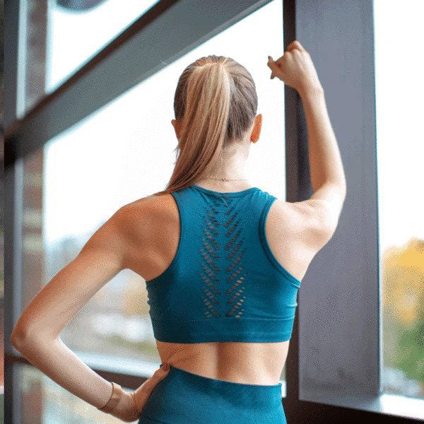 Seamless Teal Leaf Convertible Bra Crop top