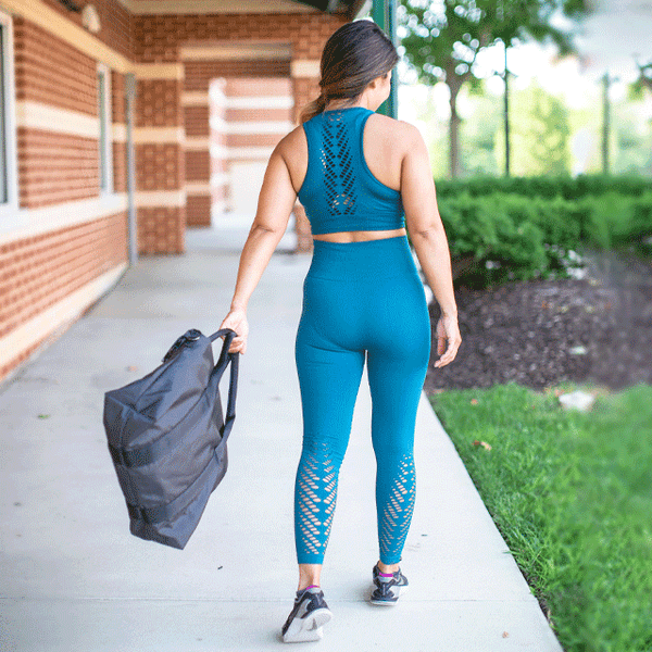 High Waist Compression Seamless Teal Leaf Leggings
