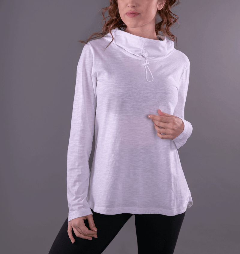 TEMA Athletics White Convertible Full Sleeves Cowl Neck Hoodie