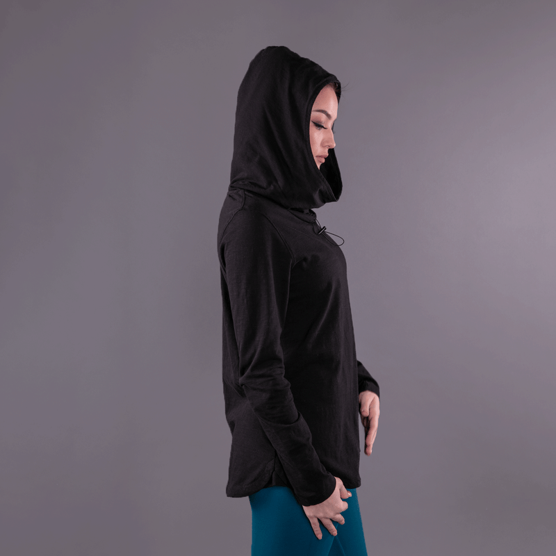TEMA Athletics Black Convertible Full Sleeves Cowl Neck Hoodie